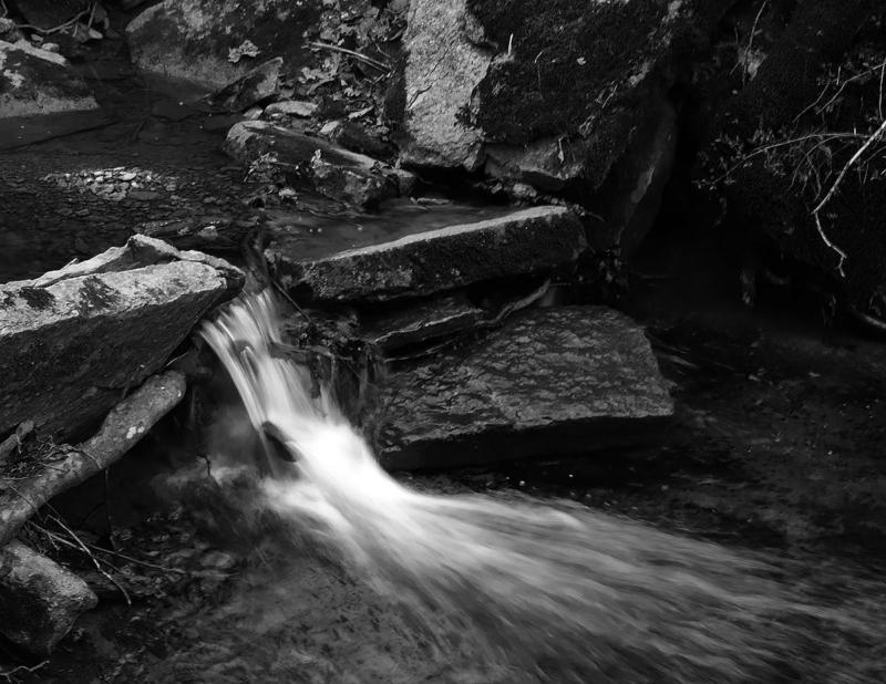 Water falling from rocks